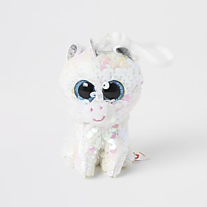 Girls TY white unicorn keyring