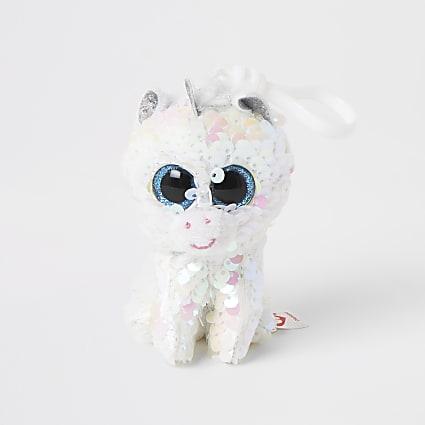 TY white unicorn keyring