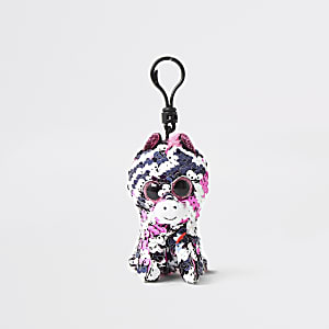 Girls TY black zebra keyring