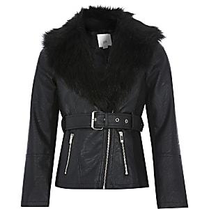 Girls black faux fur belted biker jacket