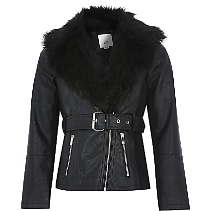 Girls black faux fur belted biker jacket