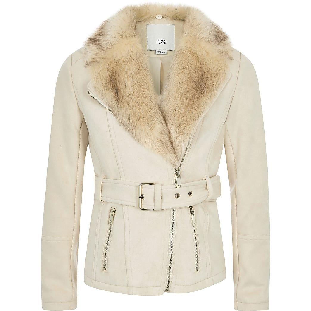 Girls cream faux suede belted biker jacket