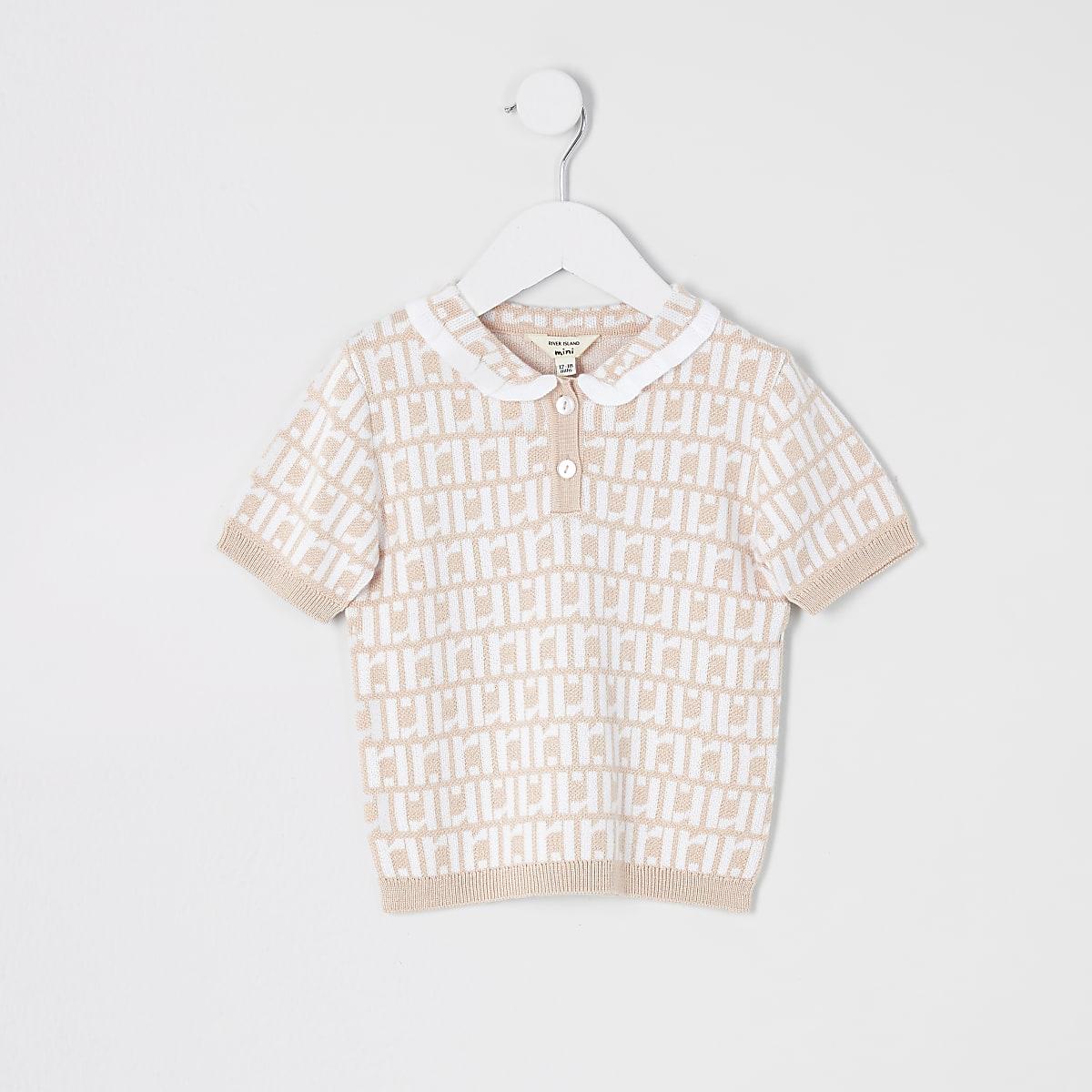 Mini - Roze poloshirt met RI-logo voor meisjes