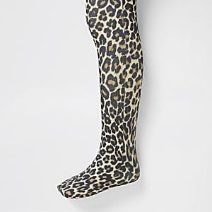 Mini - Bruine maillot met luipaardprint voor meisjes