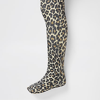 Mini girls brown leopard print tights