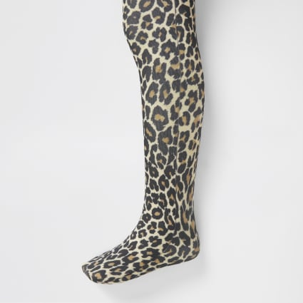 Mini girls brown leopard print tights