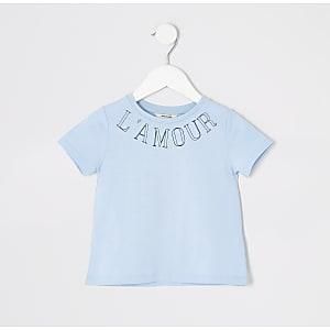 Mini - Blauw T-shirt met print voor meisjes