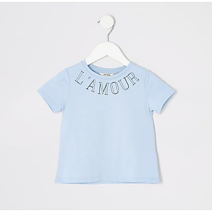 Mini girls blue printed T-shirt