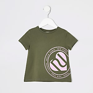Mini girls khaki printed T-shirt