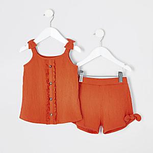 Mini - Outfit met oranje camitop voor meisjes