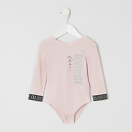 Mini girls pink RI Active 'unique' bodysuit