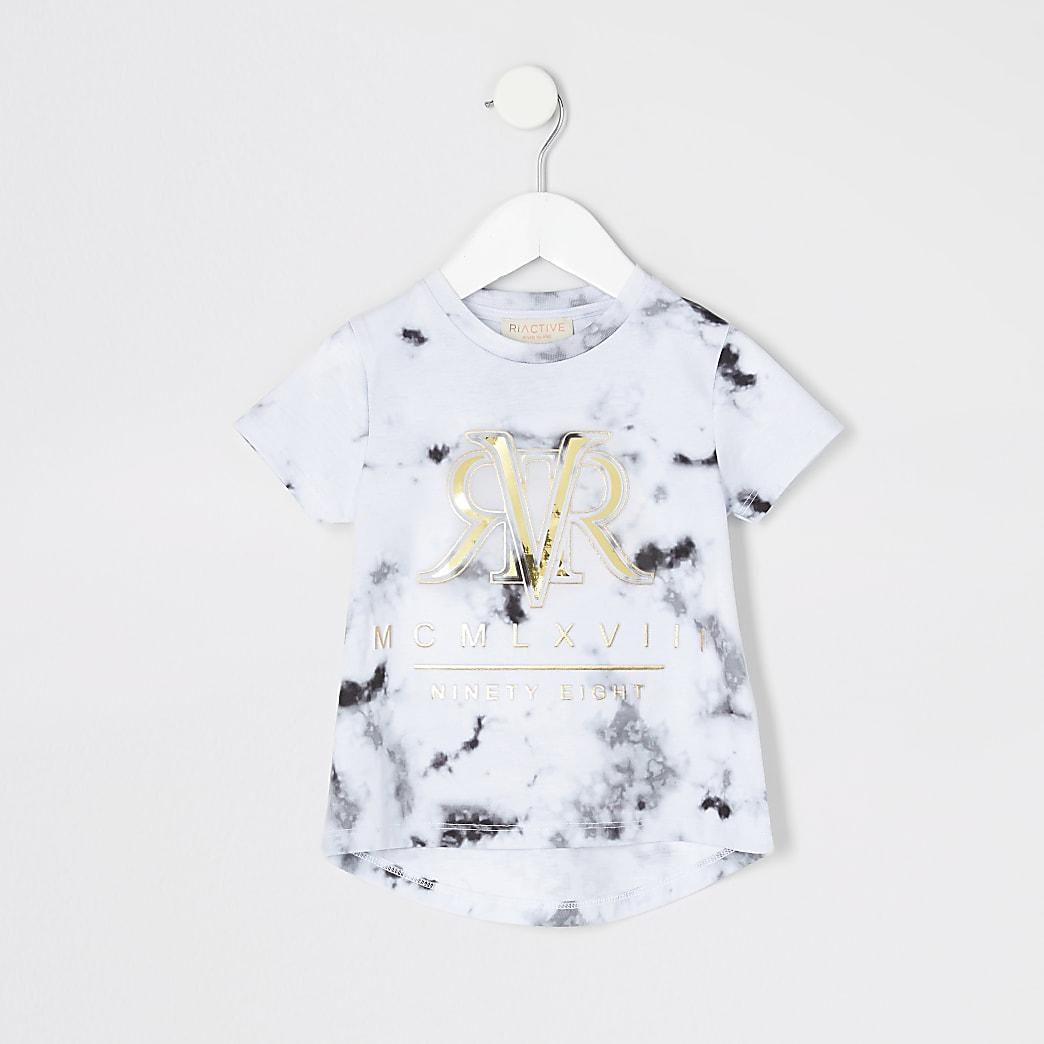 Mini girls RI Active grey marble T-shirt