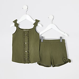 Mini girls khaki cami top outfit