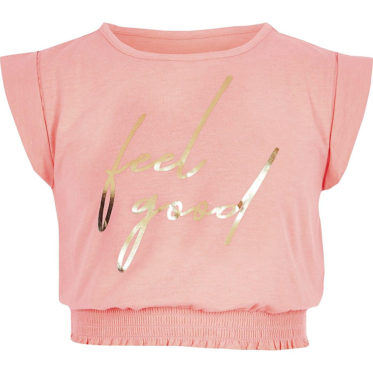 Girls coral 'Feel good' T-shirt
