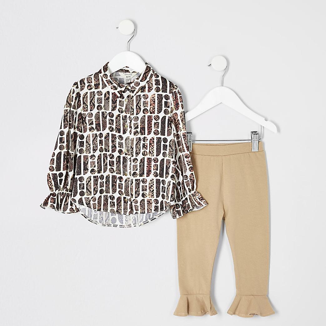 Mini - Crème overhemd met RI- en slangenprint voor meisjes