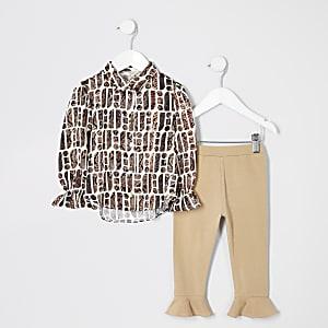 Mini - Outfit met crèmekleurig overhemd met slangenprint voor meisjes