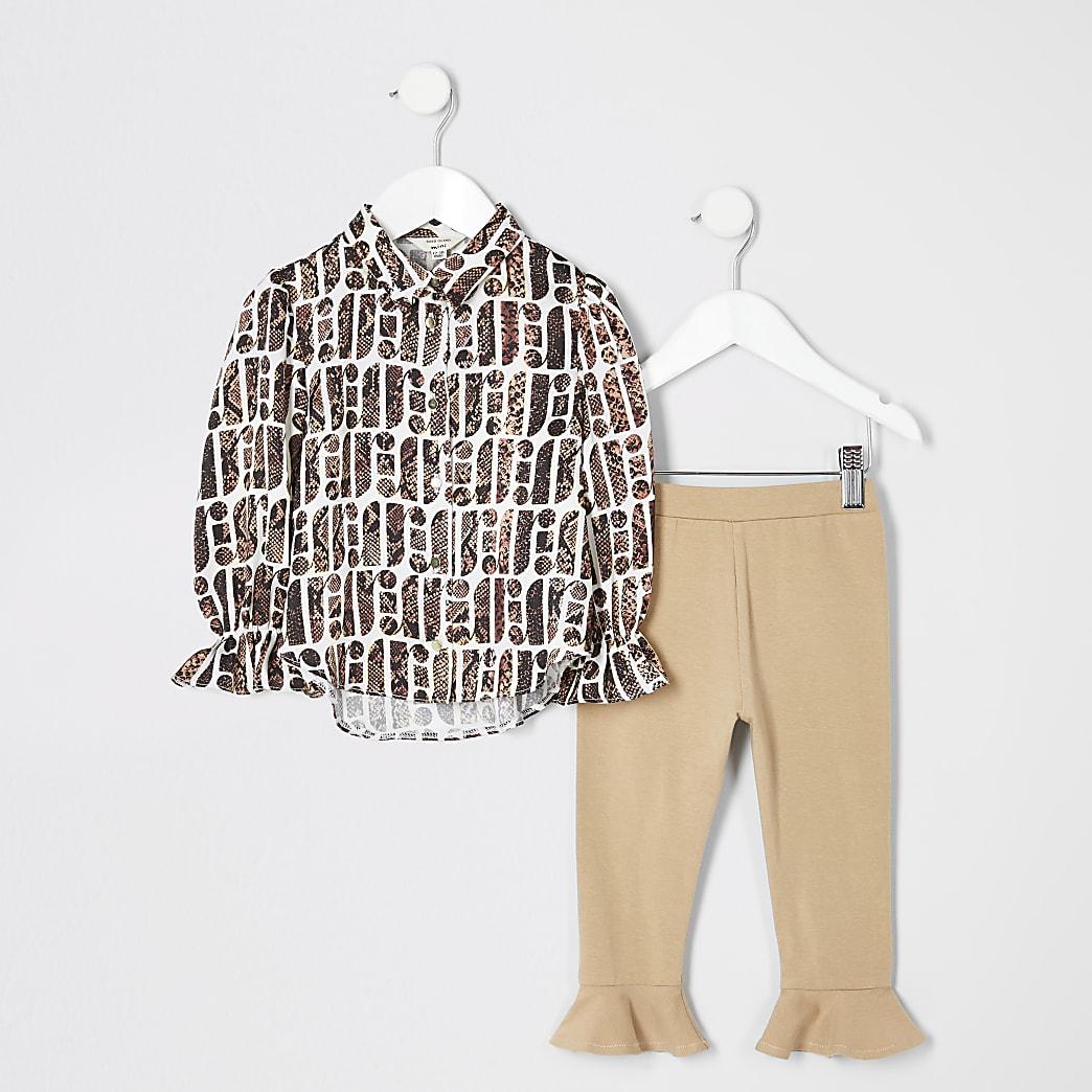 Mini girls cream snake print shirt outfit