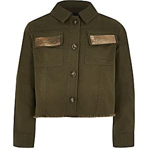 Gekürzte Mädchen-Jacke mit Verzierungen in Khaki