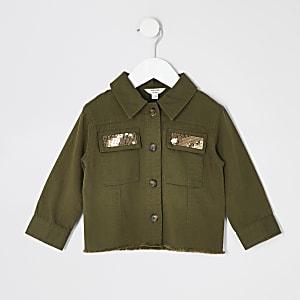 Gekürzte Jacke in Khaki mit Verzierungen für kleine Mädchen