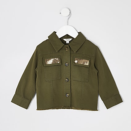Mini girls khaki embellished cropped shacket