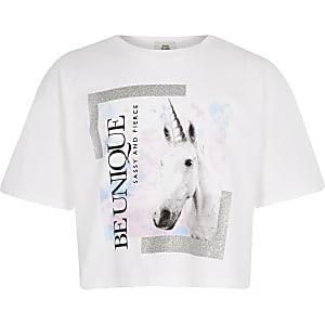 T-shirt blanc motif licorne «be unique» pour fille