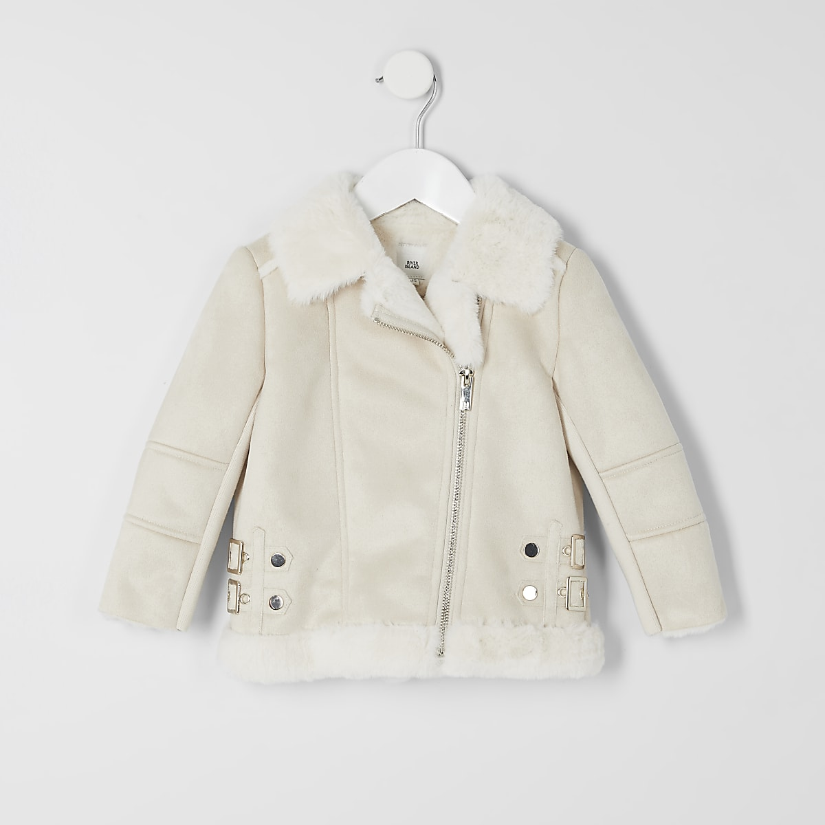 Mini girls cream faux suede aviator jacket