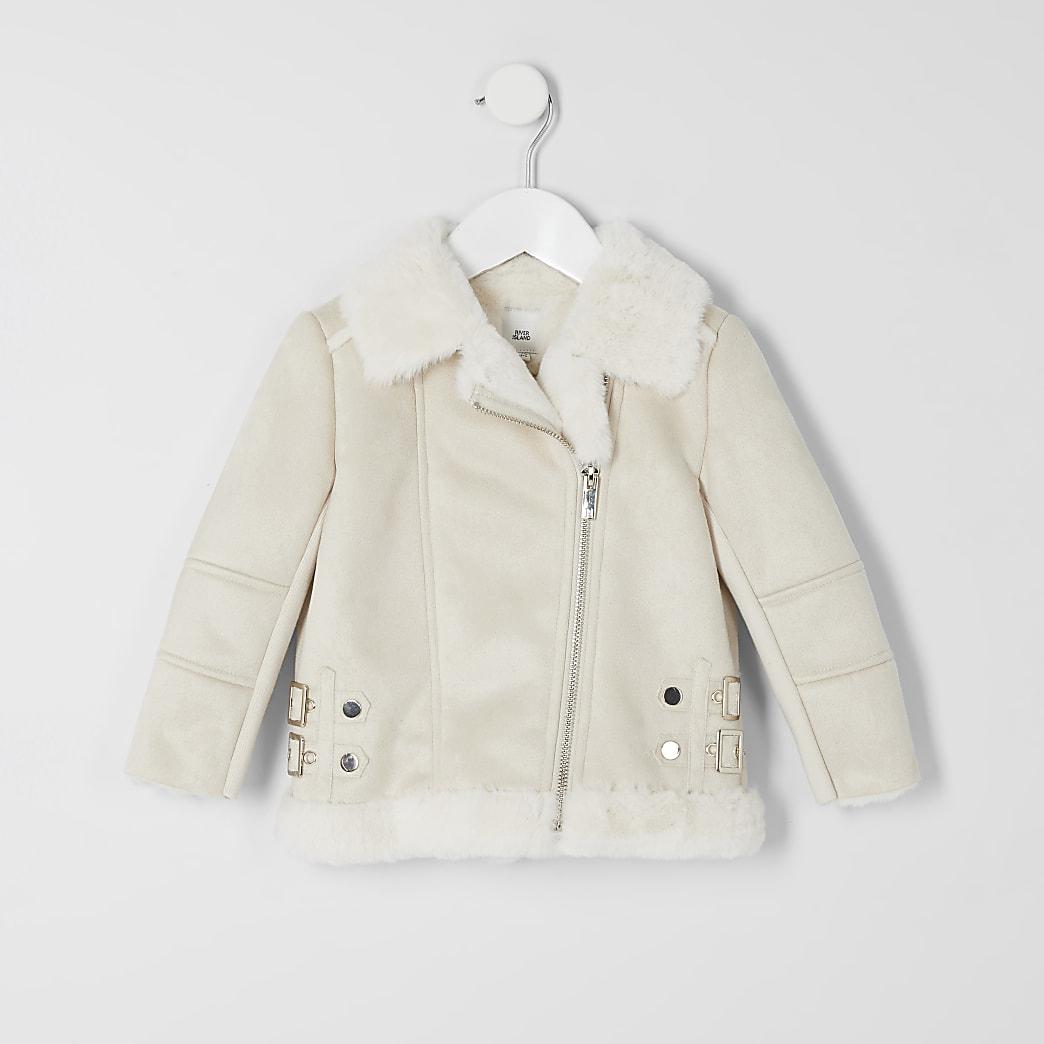 Mini girls cream faux suede aviator jacket