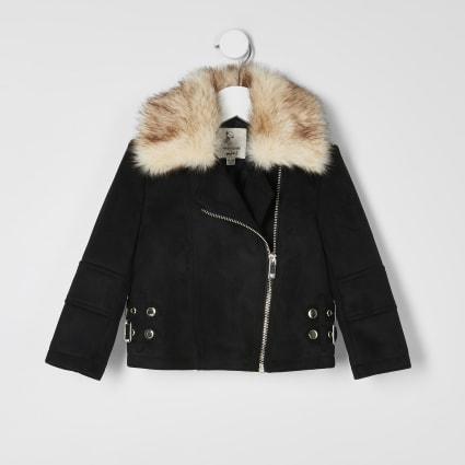 Mini girls black suedette aviator jacket