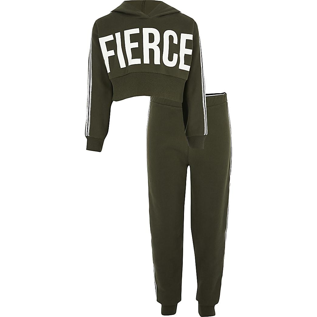 Girls khaki fierce tape trim set