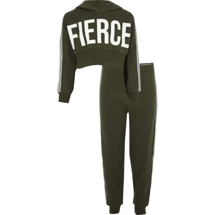 Girls khaki fierce tape trim set