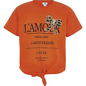T-shirt imprimé orange à nœud pour fille