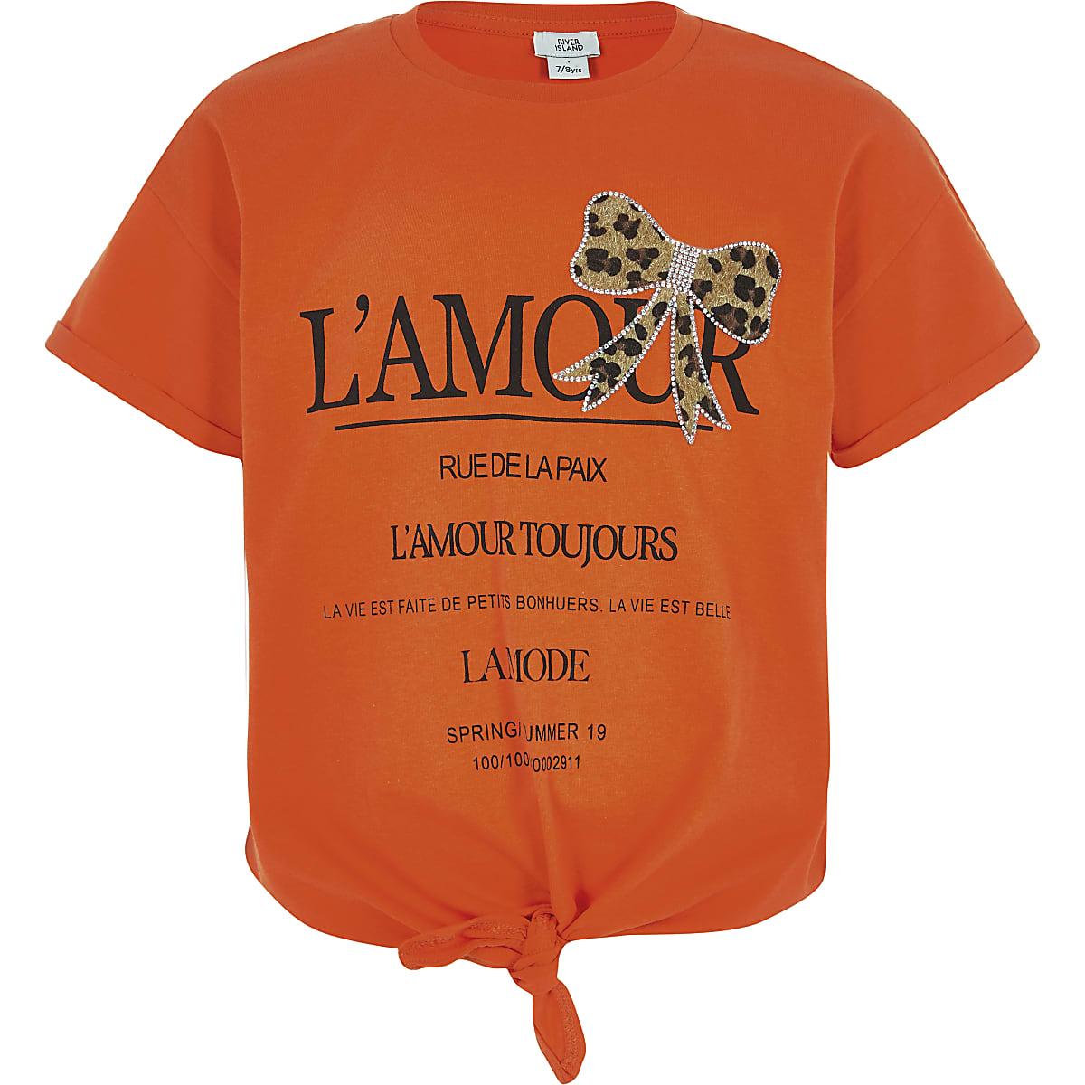 Girls orange printed bow T-shirt