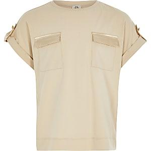 T-shirt marron clair fonctionnel pour fille