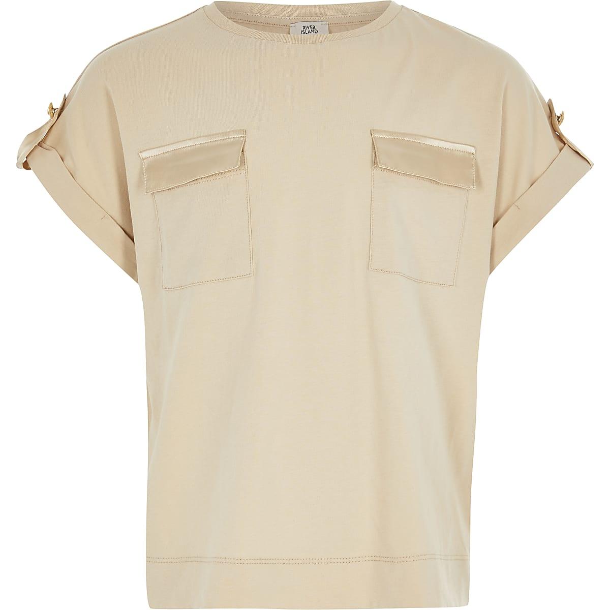 Lichtbruin utility-T-shirt voor meisjes