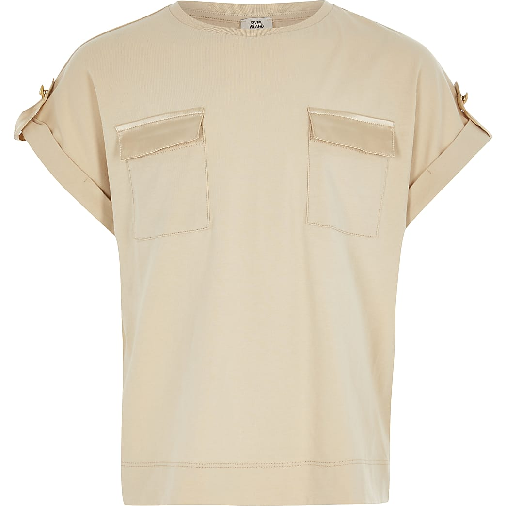Girls light brown utility T-shirt