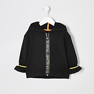 Sweat à capuche sport zippé noir mini fille