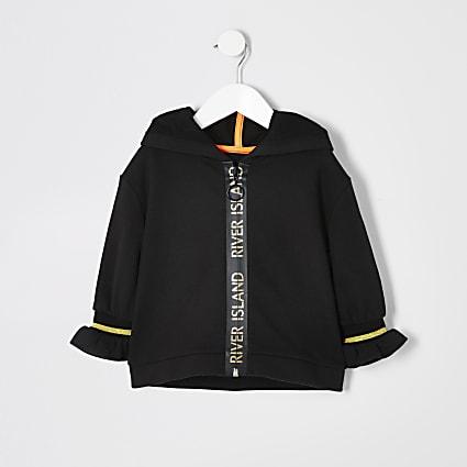 Mini girls black active zip hoody