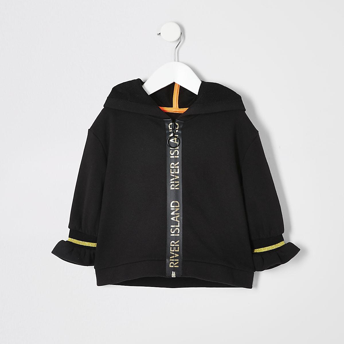 Mini - Zwarte active hoodie met rits voor meisjes