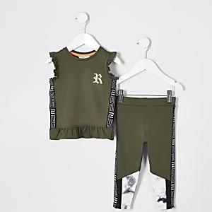 RI Active – Outfit mit Schößchen-Oberteil in Khaki