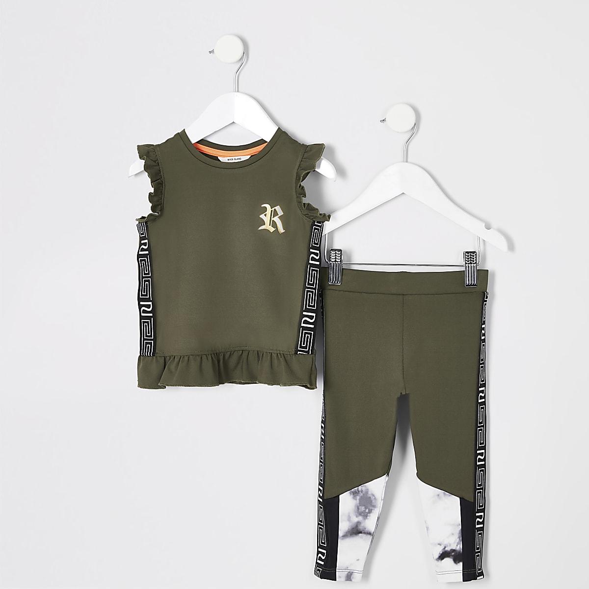 Mini girls RI Active khaki peplum top outfit