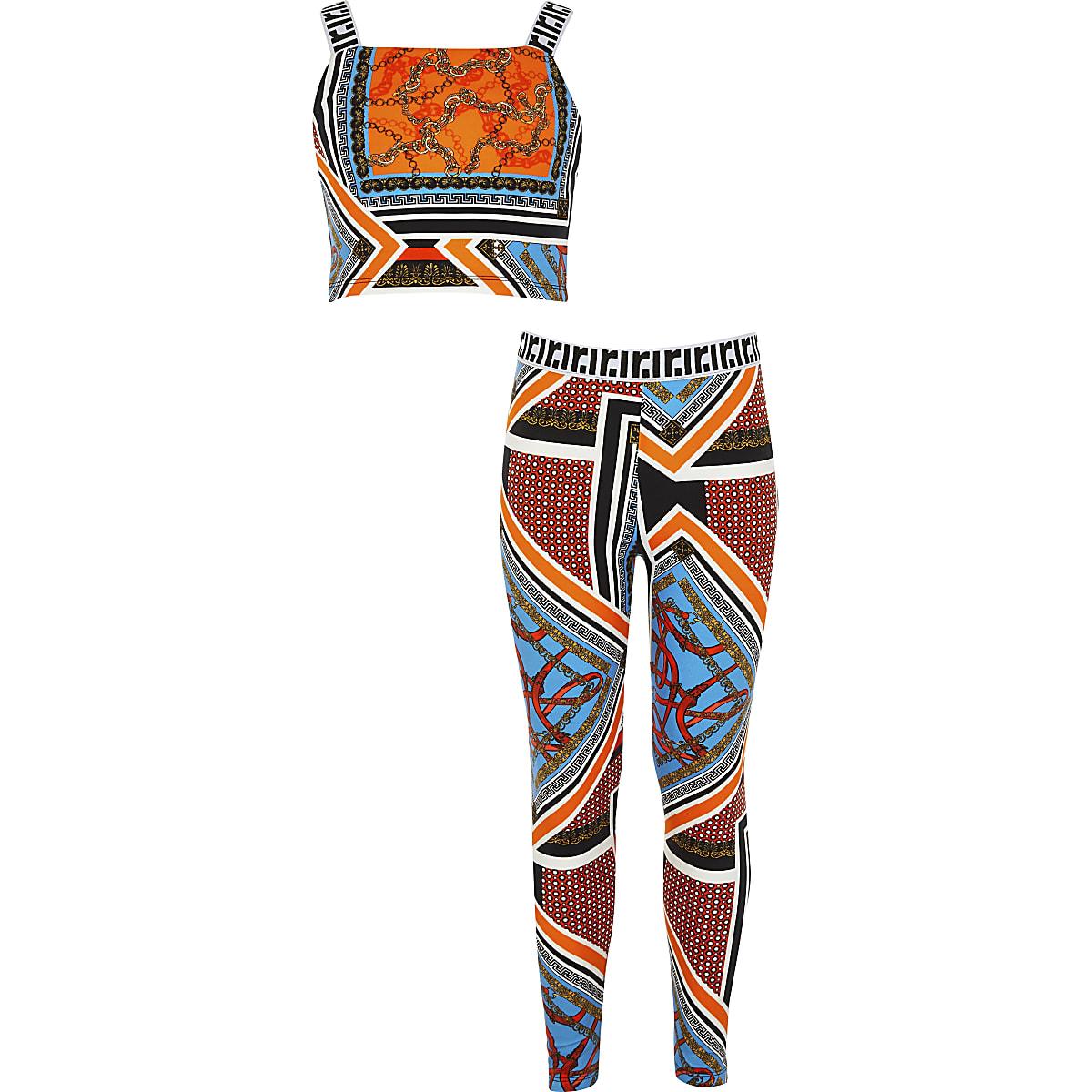 Girls orange baroque crop top outfit