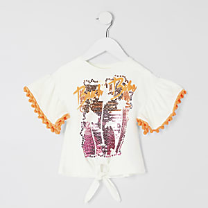Mini girls 'beach babe' embellished T-shirt