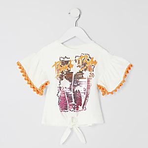 """Mini – T-Shirt """"Beach Babe"""" mit Bommelborte für Mädchen"""