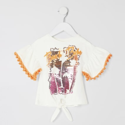 Mini girls 'Beach babe' embellished T-shirt