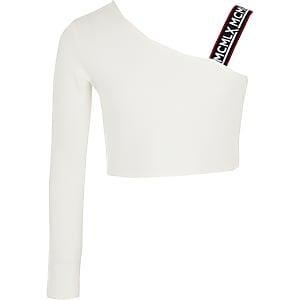 Witte top met één schouder voor meisjes