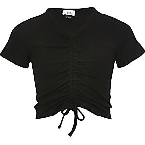 T-shirt noir froncé devant pour fille