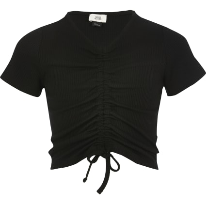 Girls black ruched front T-shirt