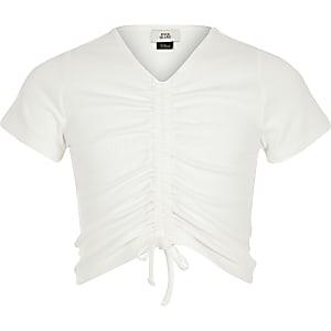 T-shirt blanc froncé sur le devant pour fille