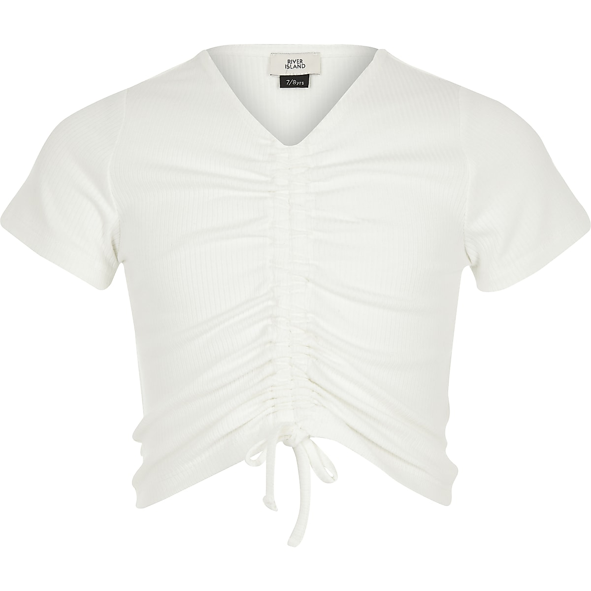 Girls white ruched front T-shirt