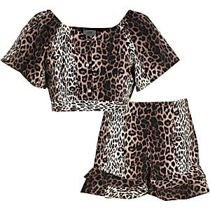 Outfit met bruine short met luipaardprint en ruches voor meisjes